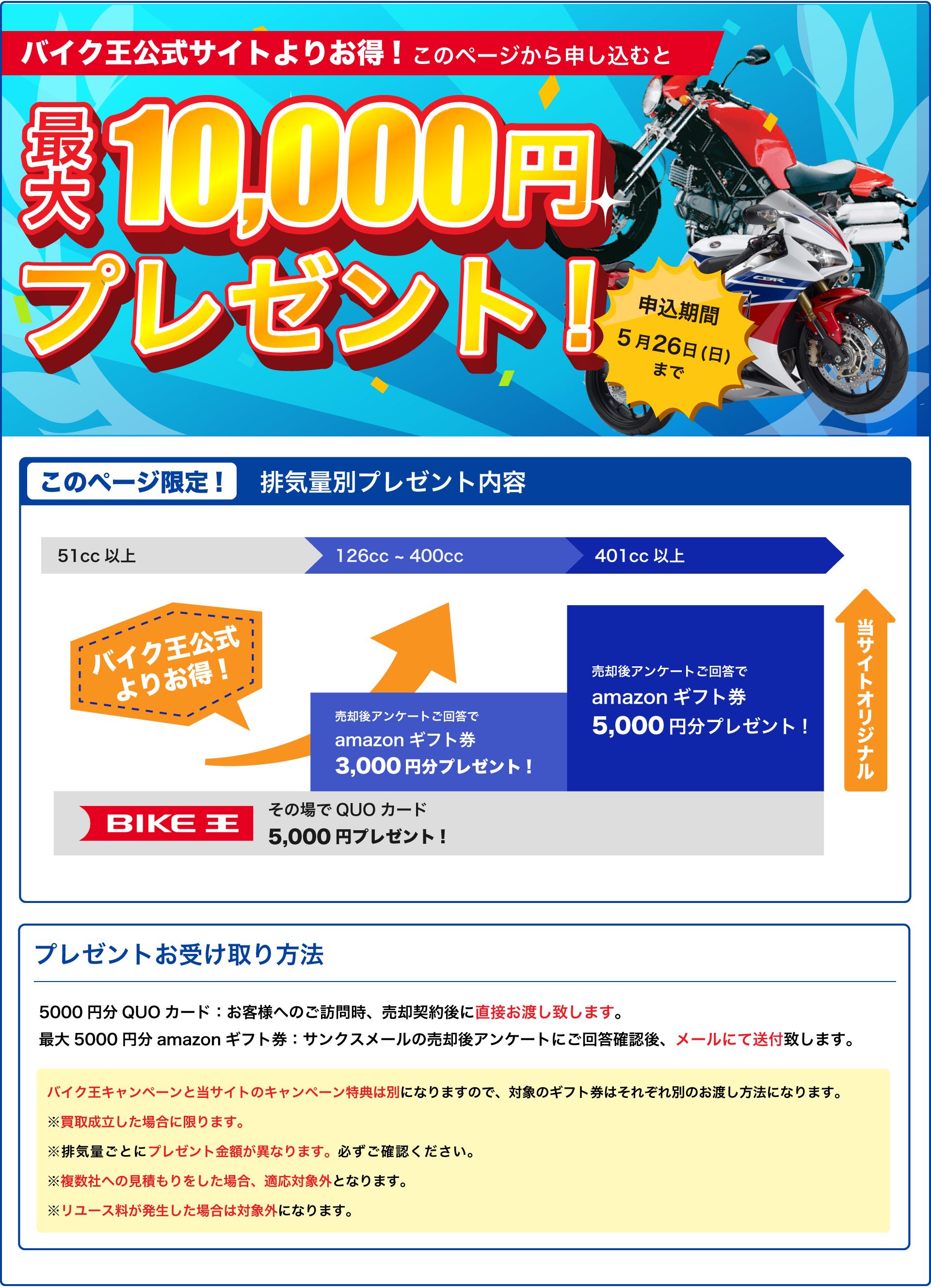 126cc以上のバイク申込&バイク売却の場合、バイク王のキャンペーンでQUOカード5,000円分、バイク比較.com限定キャンペーンでAmazonギフトカード最大5,000円分プレゼント!