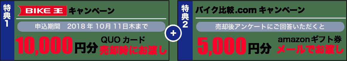 バイク王のキャンペーンでQUOカード10,000円分、バイク比較.com限定キャンペーンでAmazonギフトカード最大5,000円分プレゼント!
