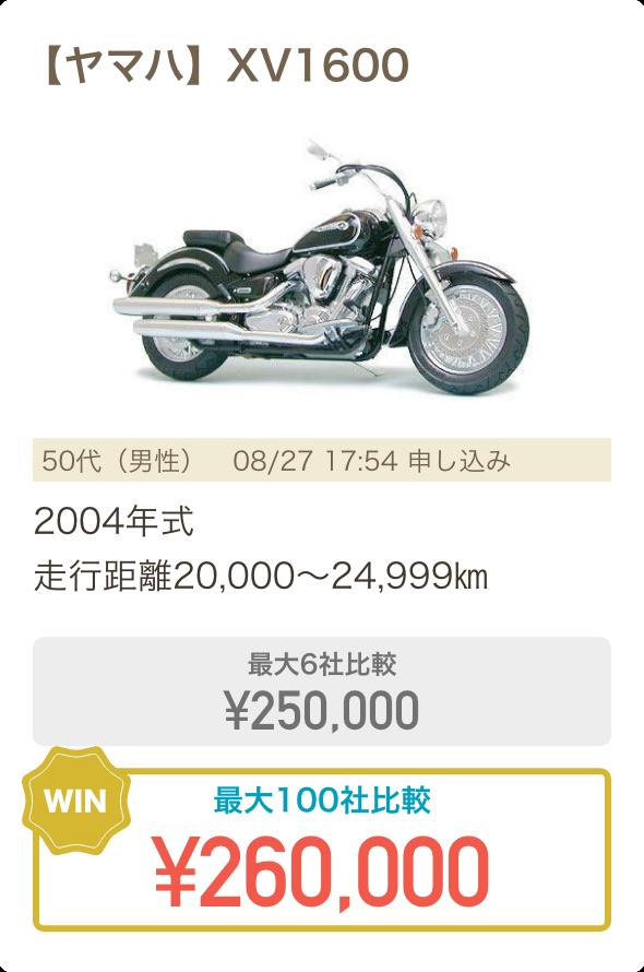 【ヤマハ】XV1600、2004年式、走行距離が20,000〜24,999km、最大6社比較で売却額が¥250,000、最大100社比較で売却額が¥260,000