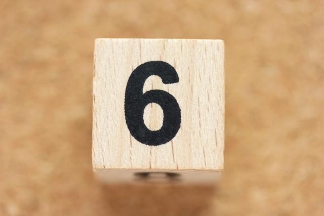 サイコロの目が6の画像