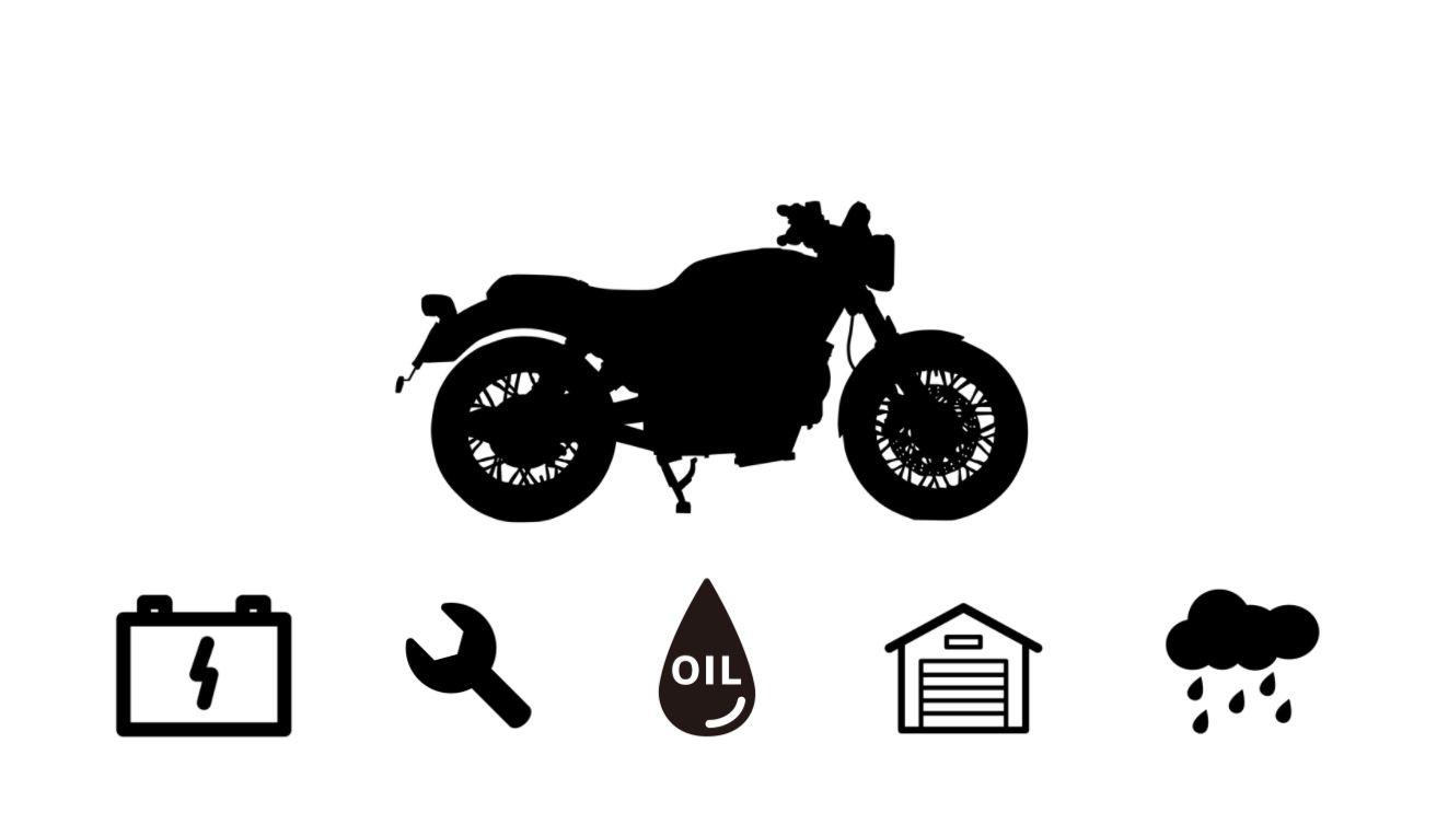 バイクの主要メンテナンス箇所を表した画像